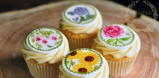 Hand Painted Assorted Flower Cupcakes