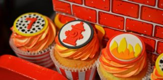 Fire Hydrant And Flame Cupcakes