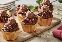 Rocher Topped Chocolate Cupcakes