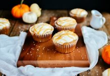 Pumpkin Spice Cupcakes with Caramel Drizzle